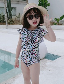 Fashion White Leopard Polka Dot Print Ruffled Childrens One-piece Swimsuit