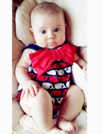 Fashion Red Whale Little Whale Print Stitching Contrast Color Bowknot Childrens One-piece Swimsuit