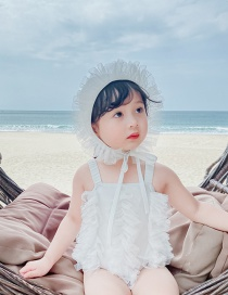 Fashion White Net Yarn Ruffled Sling Childrens One-piece Swimsuit Hat