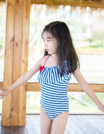 Fashion Blue Vertical Bars Stars Striped Ruffled One-shoulder Childrens One-piece Swimsuit