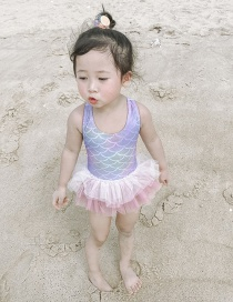 Fashion Mermaid Tutu Net Yarn Bow Knot Check Mermaid Childrens One-piece Swimsuit