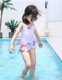 Fashion Pink Puppy Striped Puppy Print Bow Kids One-piece Swimsuit