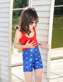Fashion American Style Five-pointed Star Print Contrast Color Childrens One-piece Swimsuit
