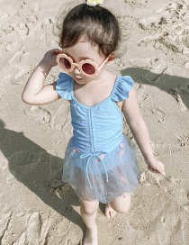 Fashion Blue Fairy Skirt Mesh Drawstring Ruffled Flamingo One-piece Swimsuit For Children