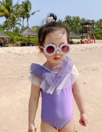 Fashion Purple Net Yarn Bow Contrast Color Childrens One-piece Swimsuit