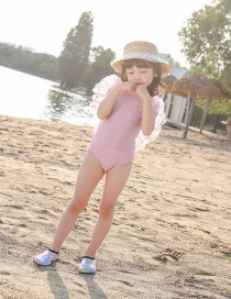 Fashion Pink Pearl Pearl Mesh Childrens One-piece Swimsuit