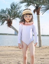 Fashion Long Sleeve White White Flowers Net Yarn Flower V-neck Childrens One-piece Swimsuit