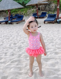 Fashion Pink Flower Tutu Childrens One-piece Swimsuit With Flower Print Mesh
