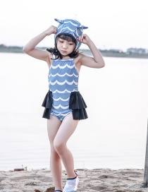 Fashion Blue Ripple + Black Border Corrugated Print Stitching Contrast Color Childrens One-piece Swimsuit