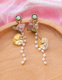 Fashion Color Mixing Handmade Crystal Three-dimensional Laser Love Flower Earrings