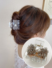 Fashion Gray Resin Crystal Beaded Pearl Bow Catch Clip