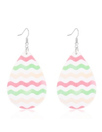 Fashion Wave Pattern Drop-shaped Leather Print Geometric Earrings