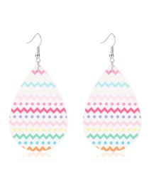 Fashion Wave Ripple Point Drop-shaped Leather Print Geometric Earrings