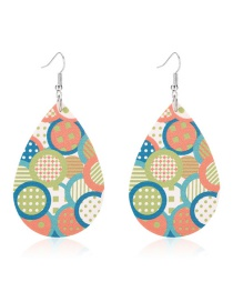 Fashion Round Drop-shaped Leather Print Geometric Earrings