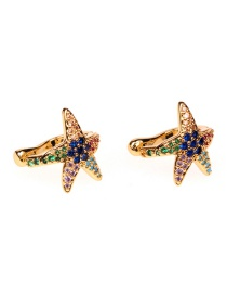 Fashion Rehearsal Crystal Copper Inlaid Zircon Starfish Without Pierced Ears