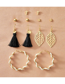 Fashion Color Mixing Hollow Leaf Pearl Tassel Earring Set