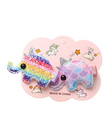 Fashion Elephant Sequined Crown Bunny Dolphin Baby Elephant Hairpin Set For Children