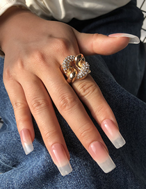 Fashion Golden Diamond And Knotted Hollow Open Ring