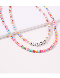 Fashion Color Handmade Beaded Rice Beads Soft Ceramic Letter Multilayer Necklace