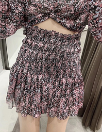 Fashion Black Floral Short Skirt With Printed Elastic And Wooden Ears