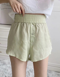 Fashion Green Elastic Waist Split Shorts