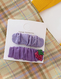 Fashion Purple Fruit Pleated Fabric Plaid Hairpin Set