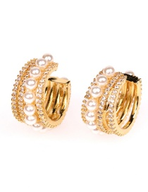 Fashion Golden Hollow Pearl And Micro Diamonds C-shaped Non-pierced Ear Bone Clip