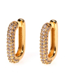 Fashion White Copper Inlaid Zircon Rectangular U-shaped Ear Bone Clip Without Pierced Ears
