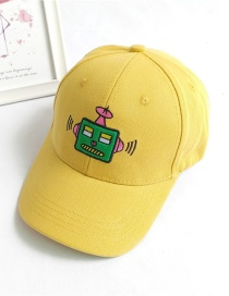 Fashion Yellow Robot Embroidery Childrens Baseball Cap