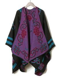 Fashion Navy Printed Geometric Knit Coat Cape Shawl