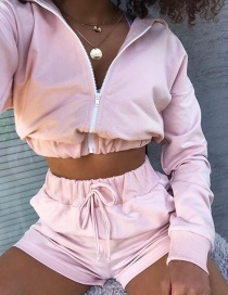Fashion Pink Loose Track Shorts With Elastic Waist Tether