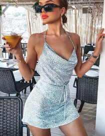Fashion Sky Blue Printed Belted Leaky Back Strap Dress