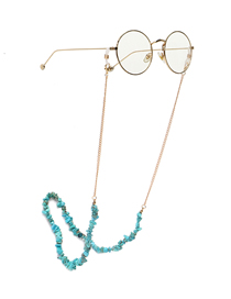 Fashion Golden Handmade Natural Turquoise Beads Anti-lost Glasses Chain