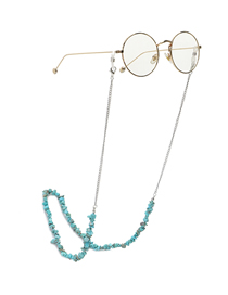 Fashion Silver Handmade Natural Turquoise Beads Anti-lost Glasses Chain