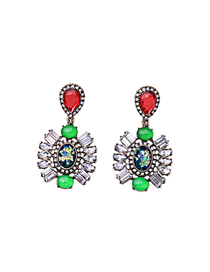 Fashion Green Geometrical Alloy Stud Earrings With Diamonds And Gems