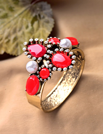 Fashion Red Gems And Pearl Geometric Alloy Wide Bangle Bracelet