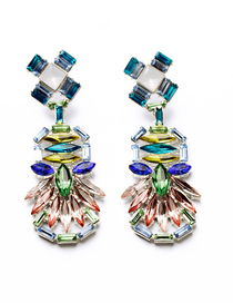 Fashion Color Mixing Diamond-studded Alloy Geometric Stud Earrings