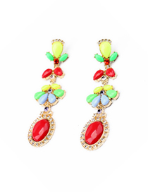 Fashion Red Geometrical Alloy Stud Earrings With Diamonds And Gems