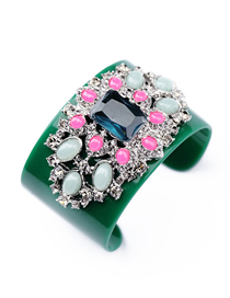 Fashion Color Mixing Geometric Broad Edge Arch Bangle With Diamonds And Gems