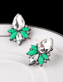 Fashion Green Alloy Diamond And Gems Geometric Stud Earrings
