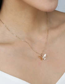 Fashion Golden Multilayer Hollow Diamond Butterfly Pendant Necklace