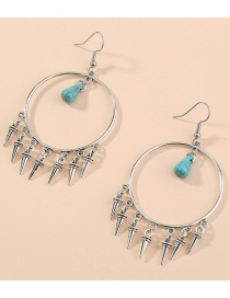 Fashion Silver Turquoise Bullet Tassel Round Earrings