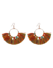 Fashion Mixed Color Fringed Alloy Fan Earrings