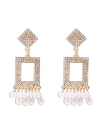 Fashion White Diamond Diamond And Pearl Geometric Alloy Earrings