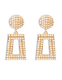 Fashion Pearl White Diamond And Pearl Geometric Alloy Earrings