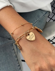 Fashion Golden Love Alloy Letter Round Bead Chain Alloy Bracelet Set