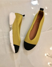 Fashion Yellow Soft Sole Flying Woven Fabric Stitching Contrast Color Pumps