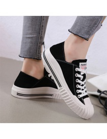 Fashion Black Leather Shell-toe Lace-up Lace-up Sneakers