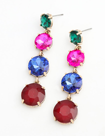 Fashion Red Color Alloy Inlaid Glass Diamond Round Long Earrings
