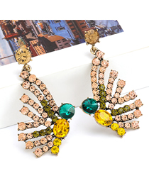 Fashion Golden Alloy Inlaid Rhinestone Butterfly Earrings